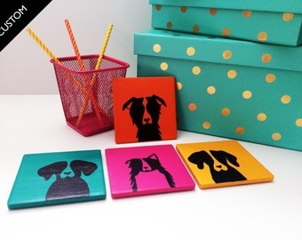 CUSTOM DOG Coasters (Set of 4): Bright, Colorful, Pop of Color, Ceramic Tile Coasters for dog lover