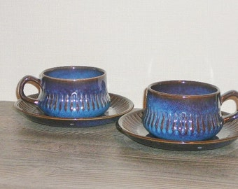 """Vintage Swedish Tea Coffee Cup and Saucer Set of 2 by GEFLE  """"Kosmos"""" Art Pottery Made in Sweden Upsala Ekeby Mid Century @61"""