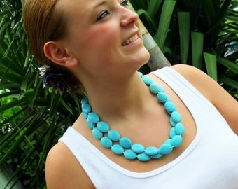 Turquoise Wedding Necklace - Chunky Turquoise Necklace - Beach Wedding Jewelry - Teal Bridesmaid Jewelry- Cowgirl Necklace - Long Necklace