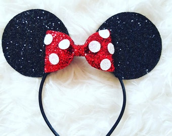 Glittery Minnie Mouse Ears Headband || Minnie Mouse Birthday || Minnie Mouse Headband || Minnie Ears