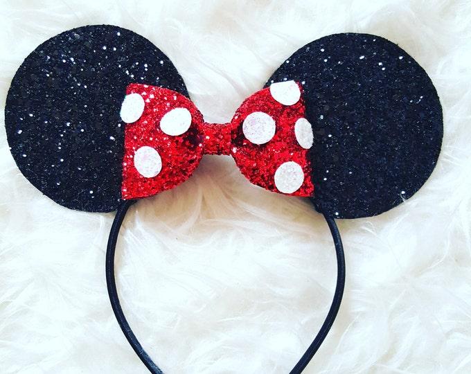 Glittery Minnie Mouse Ears Headband || Minnie Mouse Birthday || Minnie Mouse Headband || Minnie Ears