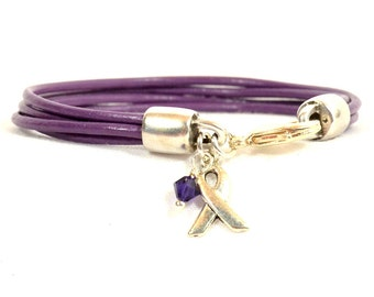 Lupus Awareness Bracelet - Purple Four-Strand 2mm Round Leather with Lobster Clasp (2A-108)