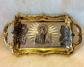 Vintage Zaragoza Ladyof the Pillar gold and silver metal tray. Free ship