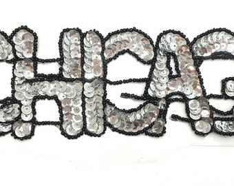 "Chicago Applique, Silver Sequins, Windy Black Beads, 10"" x 3""  -1485-0024"
