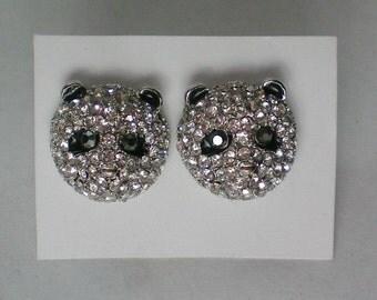Baby Panda Pave' Crystal Pierced Earrings - 4831