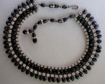 Sassy Black Bead Rhinestone Necklace - 4858
