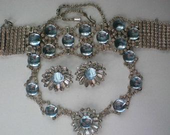 Blue Glass Moonstone Rhinestone Necklace, Bracelet & Earrings - 4605