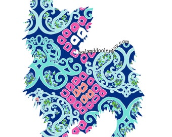 Lilly Pulitzer Inspired Yorkie Vinyl Decal Yorkshire Terrier