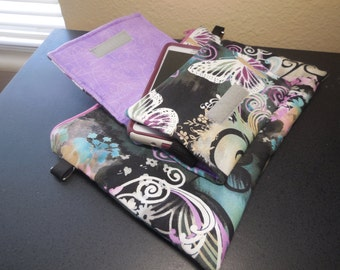 cell phone Iphone Galaxy crossbody clutch wallet pouch purse with strap purple butterflies
