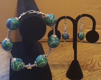 Beaded Bracelet and Earrings Set - Dazzle Me Once - Polymer Clay Jewelry - Handcrafted Jewelry - Funky Jewelry - Gift Idea - For Her