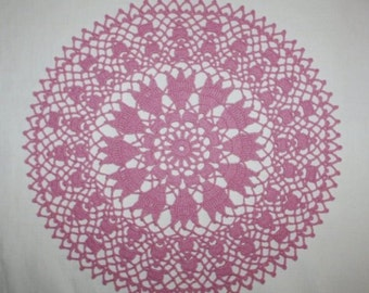 Pink Crochet Doily, Lace Flower, Wedding Doily, Cotton Doily, Placemat, Table Topper, 14 inches
