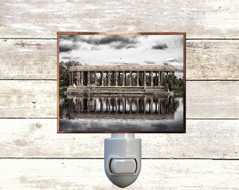"""Night Light, """"Peristyle"""", New Orleans City Park, Handmade, Copper Foiled"""