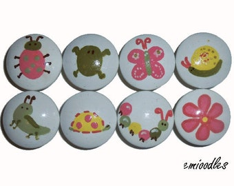 8 Custom Girls Pink Bugs Hand Painted Drawer Pulls Knobs