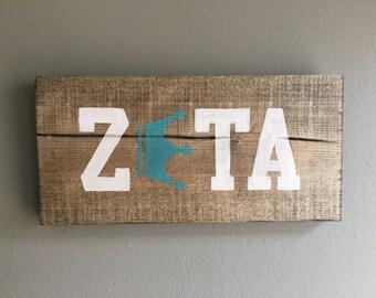 FREE SHIPPING Zeta Tau Alpha wood handmade sign outline turquoise Crown