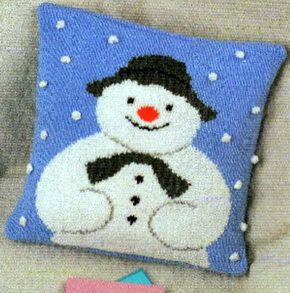 Vintage Knitting Pattern PDF The Snowman Pram Blanket Afghan Throw and Cushio...