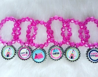 Glamping party favor bracelets.. Glamping party.. Camping party favor.. Camping party