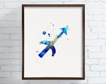 Sagittarius Zodiac, Sagittarius Watercolor, Sagittarius Print, Zodiac Decor, Zodiac Watercolor, Astrology Art, Sagittarius Gifts, Birthday