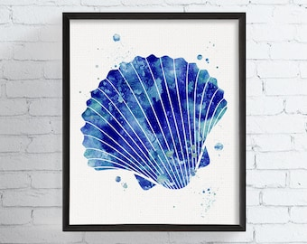 Scallop Shell Art Print, Watercolor Scallop Shell, Sea Shell Art,  Nautical Decor,  Coastal Decor, Beach Decor, Bathroom Wall Decor