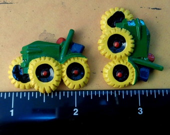 "1 Each 1.25"" x 1"" Farm Tractor Flat Back Resin Embellishment"