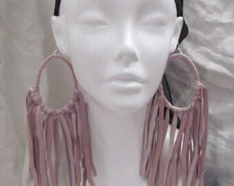 """Earrings Beautiful Pink Leather Suede Fringe Hoop Earrings 9"""" Long (#14)"""