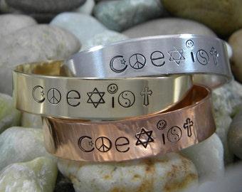 Coexist hand stamped bracelet