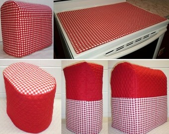 Custom Red Checked Matching Appliance Cover Set