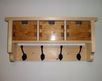 Handmade Wooden Coat and Hat Rack Cubby Shelf With Storage Boxes