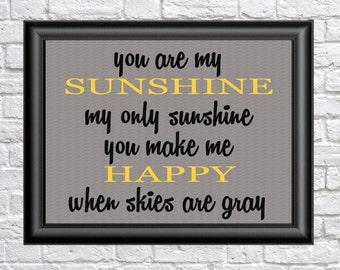 Nursery Decor,  sunshine print, wall art, kids wall art, nursery print, nursery, art, yellow, inspirational quote