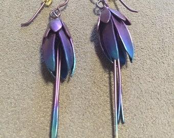 "Multicolor titanium earrings hypoallergenic 2 3/8"" length"
