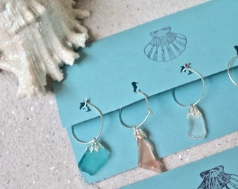 Sea Glass  Wine Glass Charms.    Great for a summer party or gift! (8)