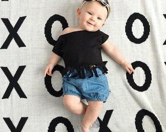 Toddler Crop Top, SOLID BLACK Fringe Crop Top, Baby Toddler