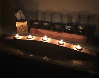 Recycled Wine Barrel Oak Stave Tea Light Candle Holder