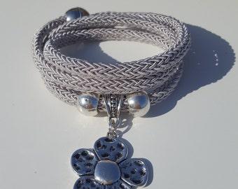 multirow, summer Wrap Bracelet, silver cord