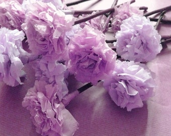 Lilac Lavender Tissue Paper Pom Pom Flower Wooden Sticks Wedding Bouquet Table Centrepiece Flower Favour (Set of 12)