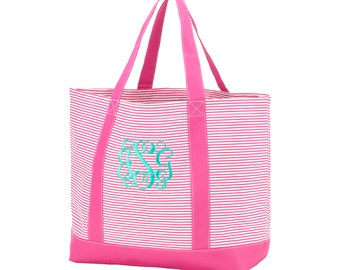 Personalized Tote-Hot Pink Pinstripe