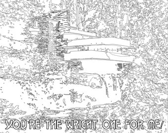 Adult Coloring page, Color Therapy, Digital Download, Fallingwater, Frank Lloyd Wright, architecture, make your own, valentine