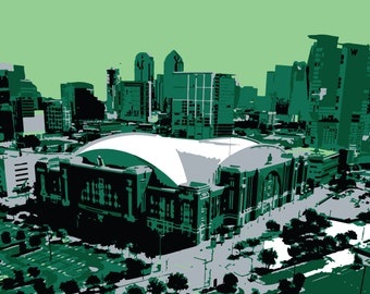 Dallas Stars art, American Airlines Center hockey arena, Dallas Texas, canvas print, hockey art, man cave, groomsman gift, child's bedroom