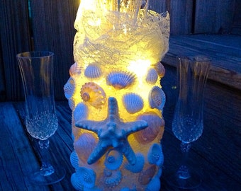 Starfish Beach Wedding Centerpiece,  Seashell Centerpiece, Rehearsal Dinner, Unity Candle