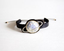 Handmade Metal with Felt Embroidery Leather Bracelet, Bangles, Planet Pattern(Silver Ring)