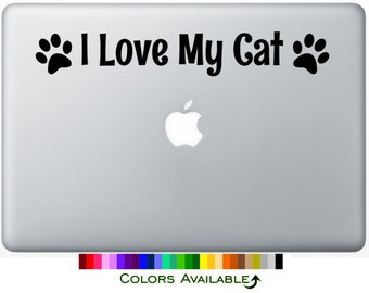 I Love My Cat Laptop Decal