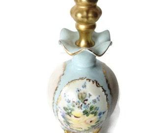 Vintage Limoges Porcelain Perfume Scent Bottle Hand Painted