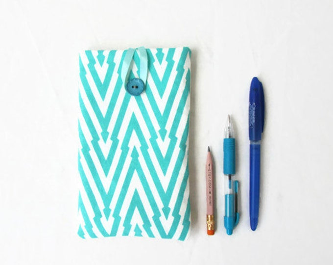 Blue Iphone 6 plus case, hand printed fabric, handmade in the Uk