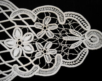 Romanian Point Lace Doily, Boutique, Floral, Oval, Ecru, Beige, OOAK, Free Shipping