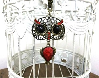 Large Eye Red Owl Necklace with Black Organza Cord, Vintage Style Owl Necklace, Rhinestone Necklace, Large Head Owl Necklace, Owl Lovers