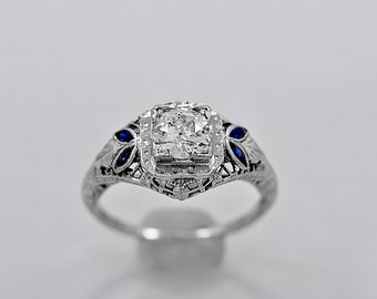 Vintage Engagement Ring .53ct. Diamond & 18K White Gold Deco - J35499