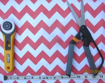 Orange and White Chevron Fabric, One yard, Riley Blake