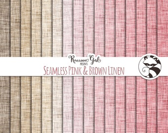 Seamless Pink and Brown Linen Digital Paper Set - Personal & Commercial Use