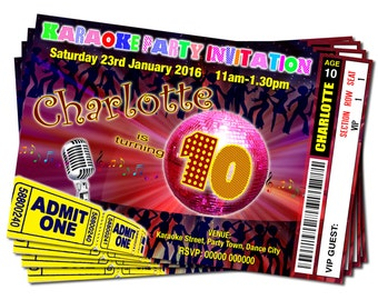 Printable Personalised Karaoke Disco Dance Party Theme - Birthday Party Ticket Style Invitations DIGITAL