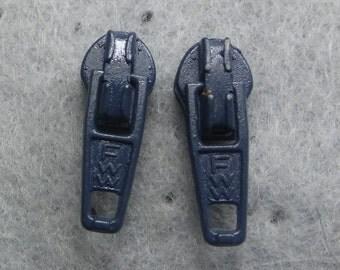 Zipper Earrings, Blue, Zipper Pull - Upcycled - Recycled - Repurposed - Post Earrings - Earring Studs - Steampunk Jewelry - Post Earrings