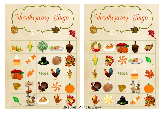 Selective image inside free printable thanksgiving bingo cards
